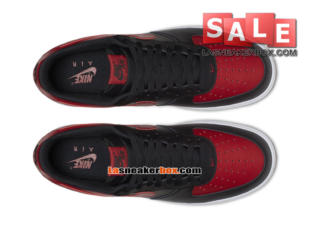 Nike Air Force 1 ´07 Mid Leather Premium - Chaussure Nike Sportswear Pas Cher Pour Homme Noir/Blanc/Rouge sportif 820266-009
