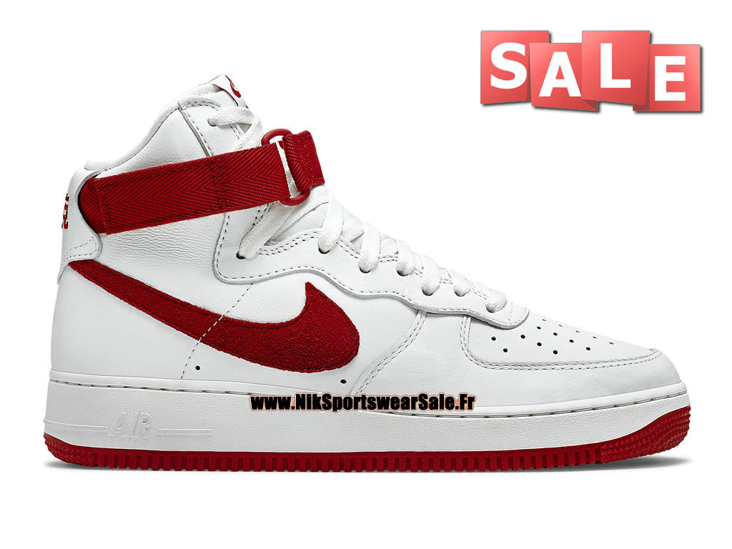 "Nike Air Force 1 High Retro ""Nai Ke"" QS China Edition - Chaussure Nike Montante Pas Cher Pour Homme Blanc/Rouge intense 743546-100"