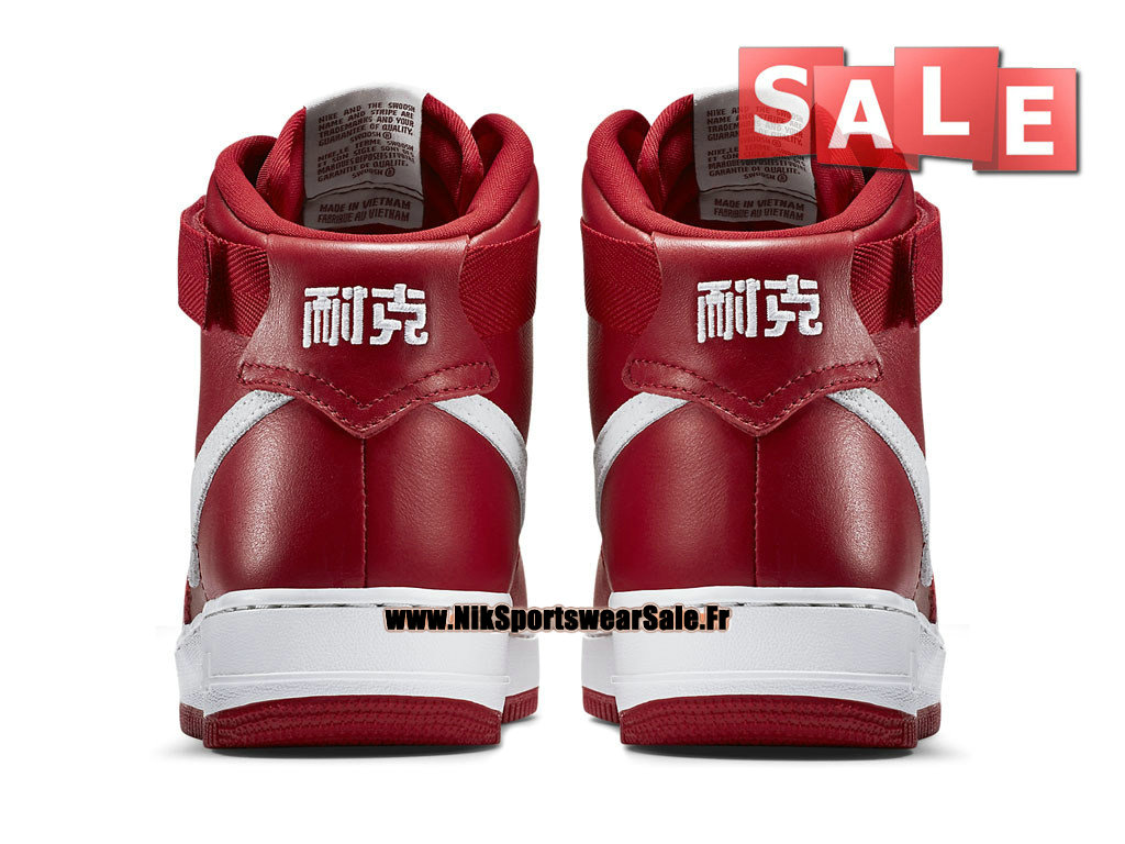 "Nike Air Force 1 High Retro ""Nai Ke"" QS China Edition - Chaussure Nike Montante Pas Cher Pour Homme Rouge sportif/Blanc immaculé 743546-600"