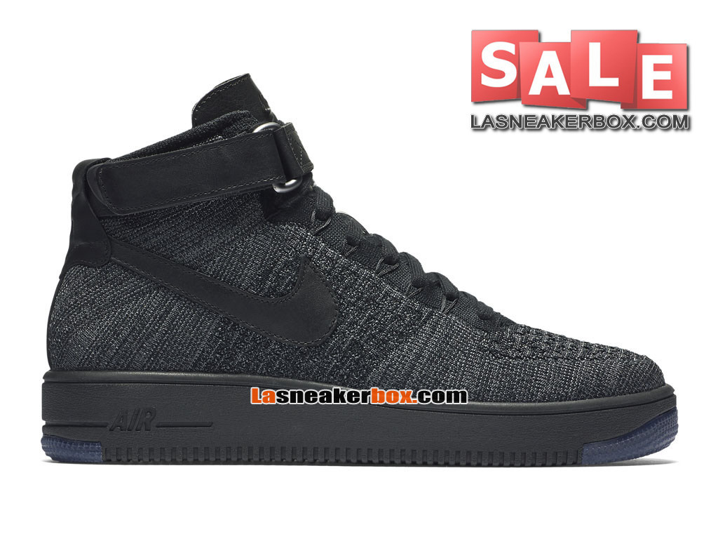 Nike Air Force 1 High Ultra Flyknit - Chaussure Nike Sportswear Pas Cher Pour Homme Noir/Violet court/Volt/Cramoisi brillant 817420-002