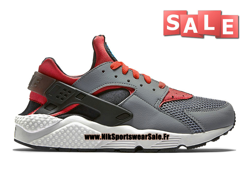 info for d660a 51ee3 Nike Air Huarache Run - Chaussures Nike Officiel Pas Cher Pour Homme Gris  loup/Cramoisi ...