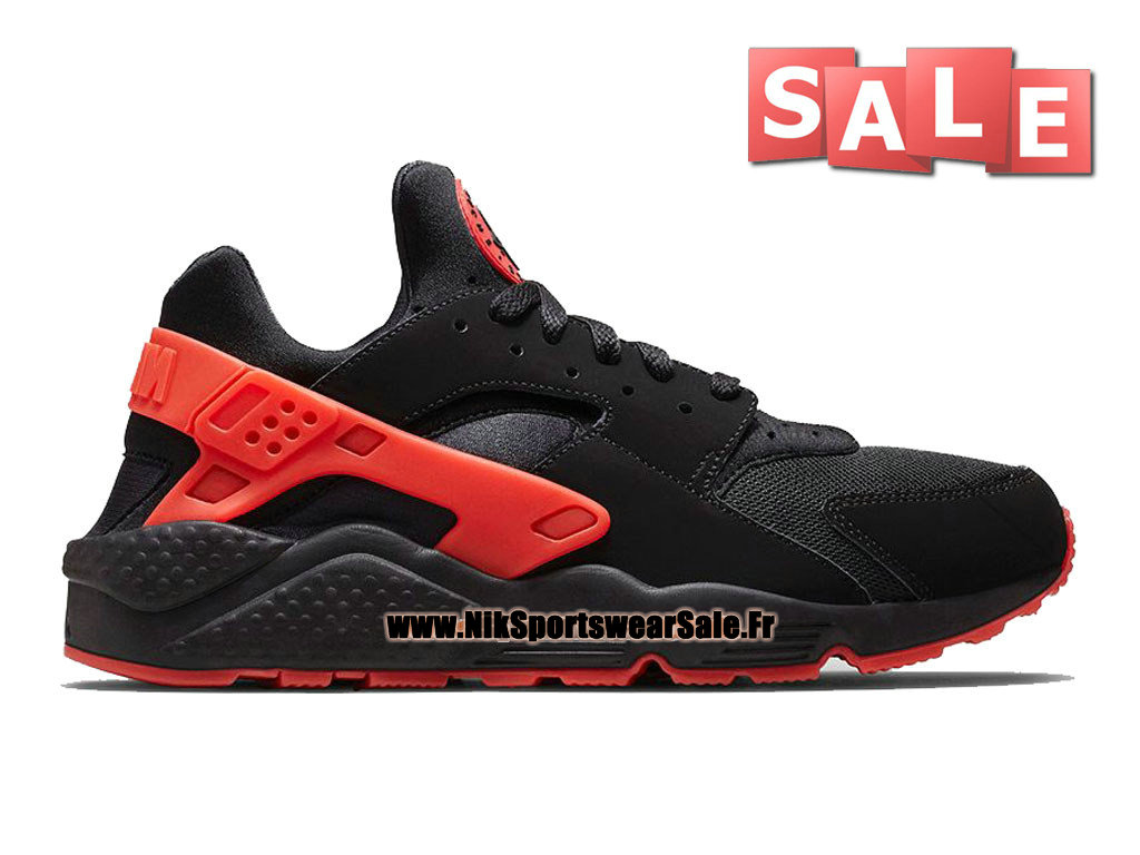 "Nike Air Huarache Run ""Love & Hate"" QS - Chaussures Nike Officiel Pas Cher Pour Homme Noir/University Rouge 700878-006"