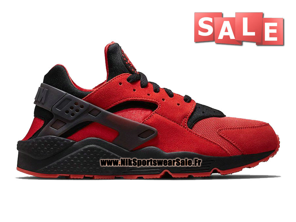 "Nike Air Huarache Run ""Love & Hate"" QS - Chaussures Nike Officiel Pas Cher Pour Homme University Rouge/Noir 700878-600"