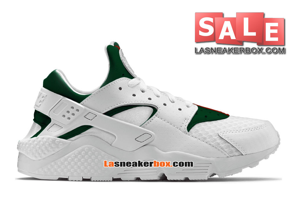 Nike Air Huarache Ultra Breathe - Chaussures Nike Pas Cher Pour Homme Blanc/Vert gorge/Rouge sportif 318429-111iD