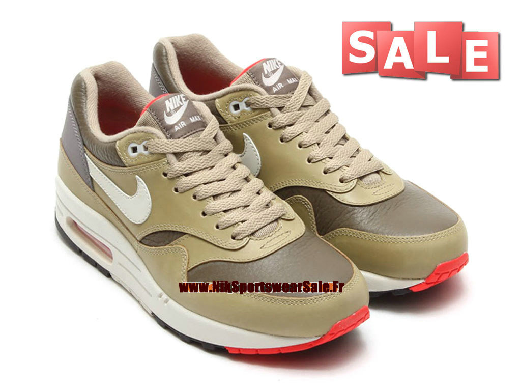 Nike Air Max 1/87 Leather - Chaussures Nike Sportswear Pas Cher Homme Dark Dune/Beige clair/Bambou 654466-200