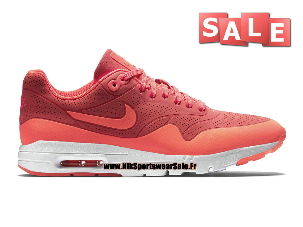 Nike Air Max 1 Ultra Moire GS - Chaussure Nike Sportswear Pas Cher Pour Femme/Fille Lave piquant/Lave piquant/Blanc 704995-800