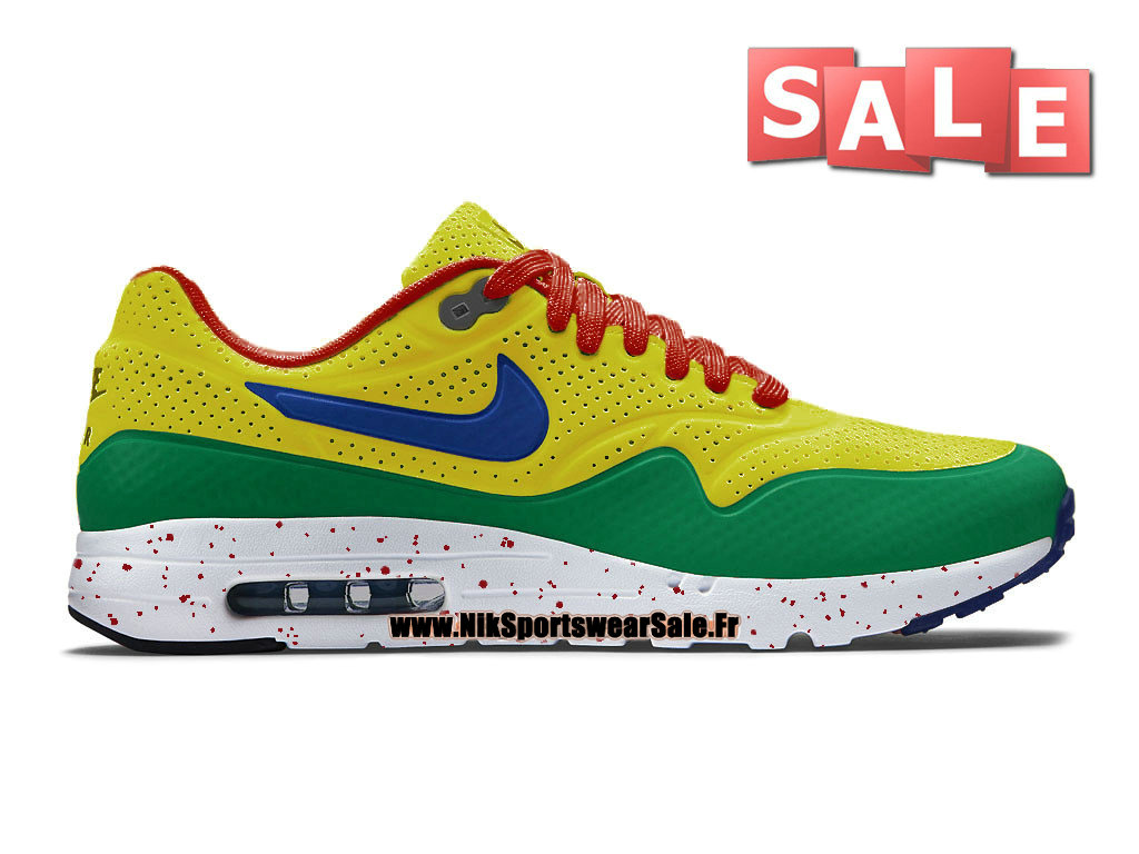 Nike Air Max 1 Ultra Moire iD GS - Chaussure Nike Sportswear Pas Cher Pour Femme/Enfant Sonic Yellow/Pine Green/University Red/Midnight Navy 704995-888iD