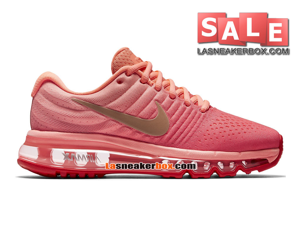 Nike Air Max 2017 GS - Chaussure de Nike Running Pas Cher Pour Femme/Fille Orange max/Rouge lave brillant/Rouge cocktail/Bronze rouge métallique 851623-800