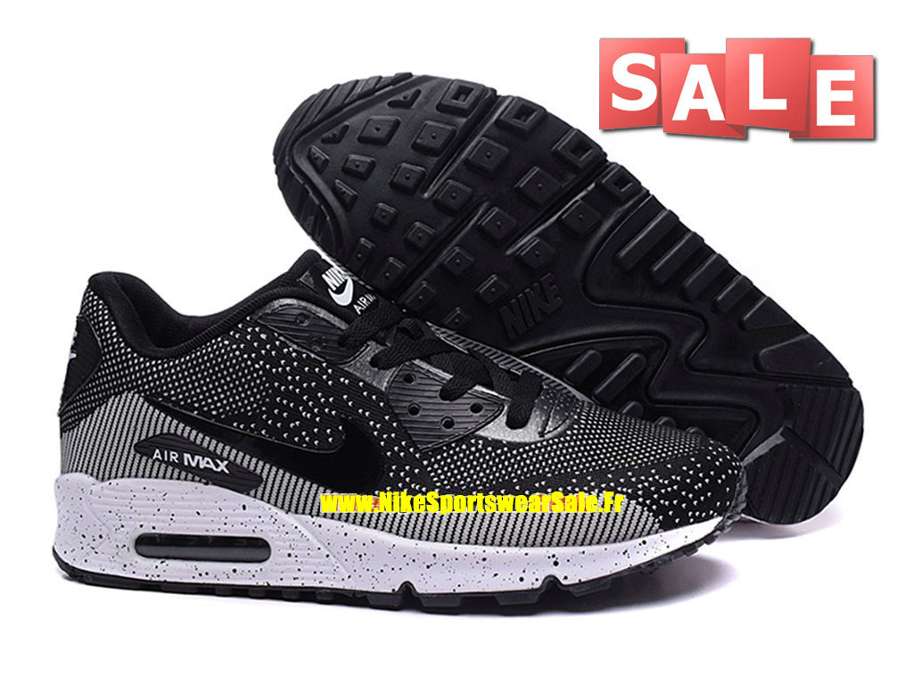 more photos e4b1b af23c ... Nike Air Max 90 Flyknit - Chaussures Nike Sportswear Pas Cher Pour Homme  Noir Blanc