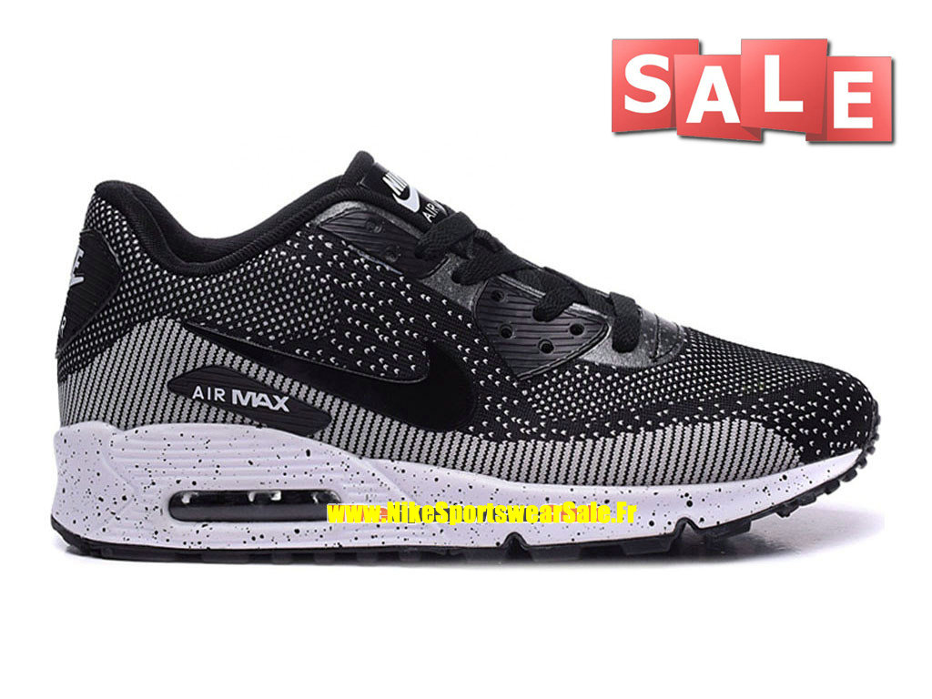Nike Air Max 90 Flyknit - Chaussures Nike Sportswear Pas Cher Pour Homme Noir/Blanc 749326-iD01