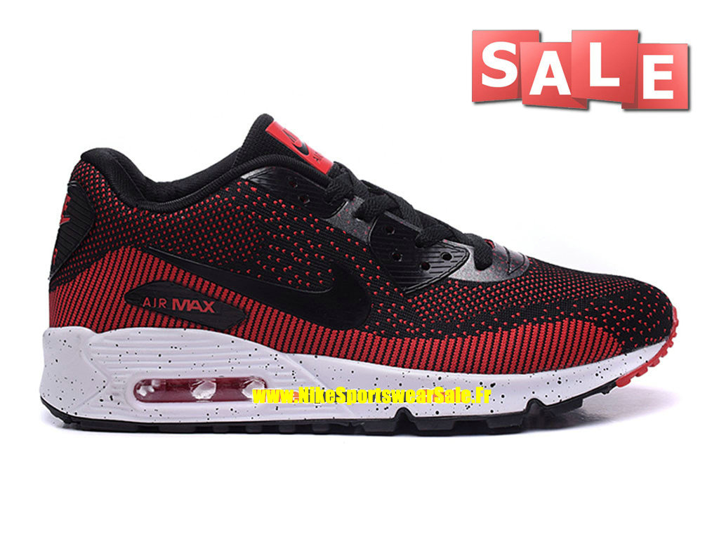 Nike Air Max 90 Flyknit - Chaussures Nike Sportswear Pas Cher Pour Homme Noir/Rouge défi/Blanc 749326-iD02