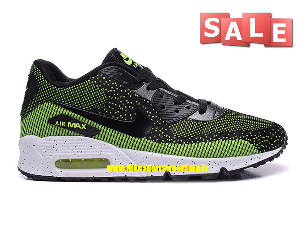 Nike Air Max 90 Flyknit - Chaussures Nike Sportswear Pas Cher Pour Homme Noir/Vert poison/Blanc/Volt 749326-iD05