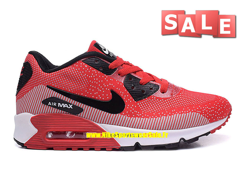 Nike Air Max 90 Flyknit - Chaussures Nike Sportswear Pas Cher Pour Homme Rouge défi/Noir/Blanc 749326-iD03