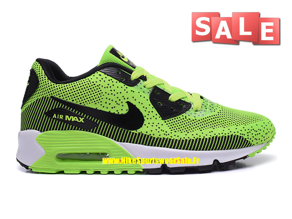 Nike Air Max 90 Flyknit - Chaussures Nike Sportswear Pas Cher Pour Homme Vert poison/Noir/Blanc/Volt 749326-iD04