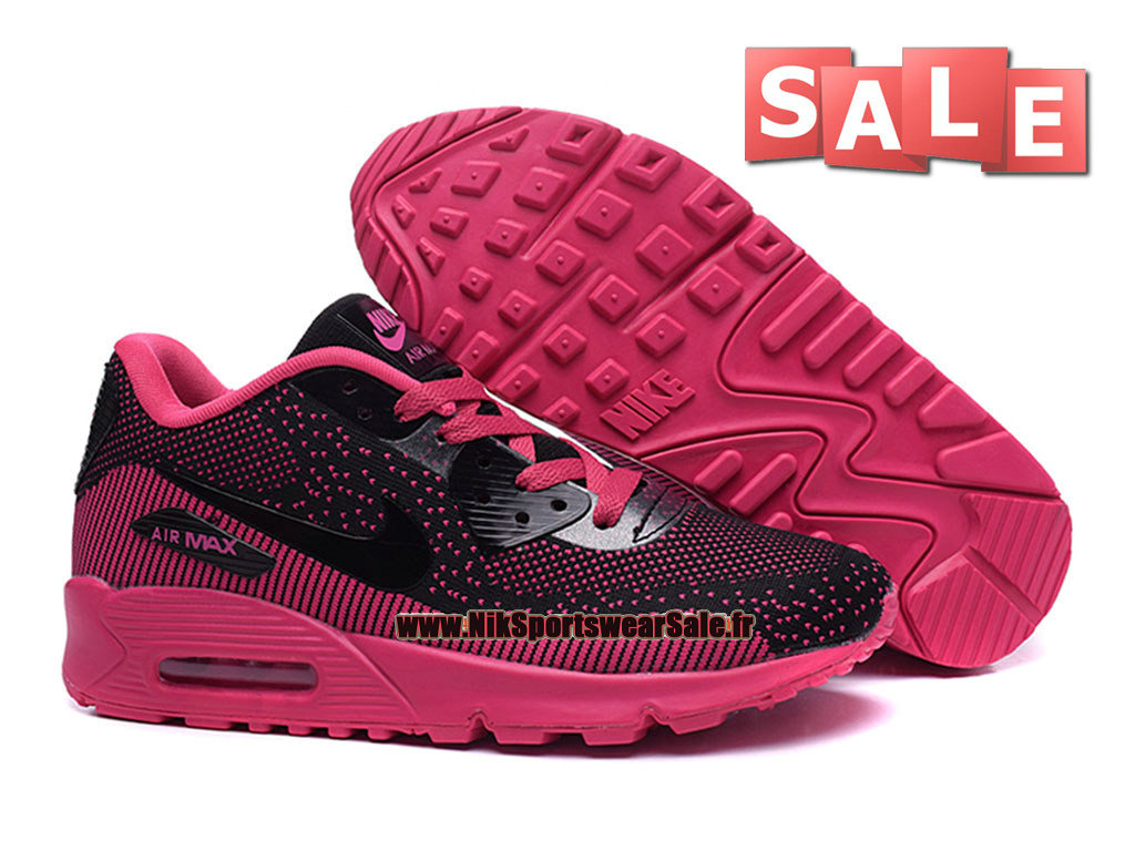 585708d470e ... Nike Air Max 90 Flyknit GS - Chaussures Nike Sportswear Pas Cher Pour  Femme Fille