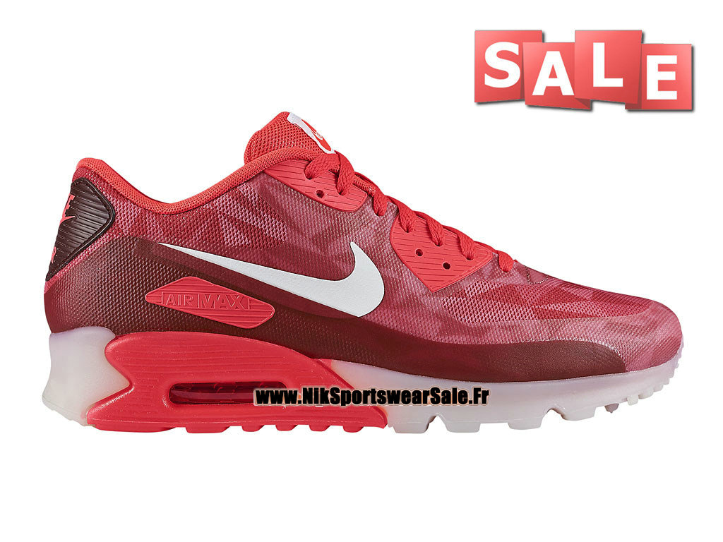 Nike Air Max 90 Ice GS - Chaussure de Sports Nike Pas Cher Pour Femme/Fille Cramoisi laser/Blanc/Legion Rouge 631748-601G