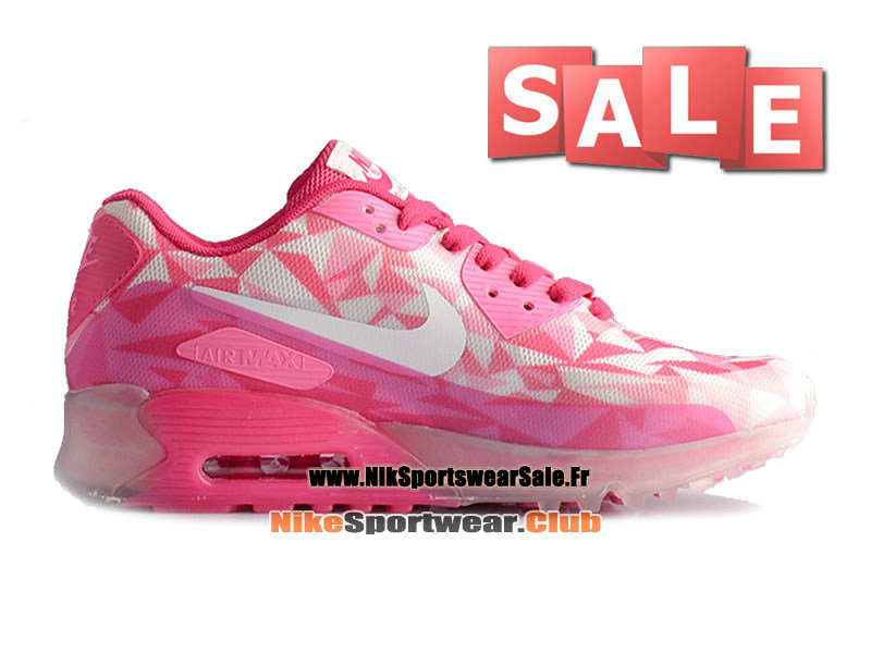 Nike Air Max 90 Ice GS - Chaussure de Sports Nike Pas Cher Pour Femme/Fille Pink/Blanc 631748-601G