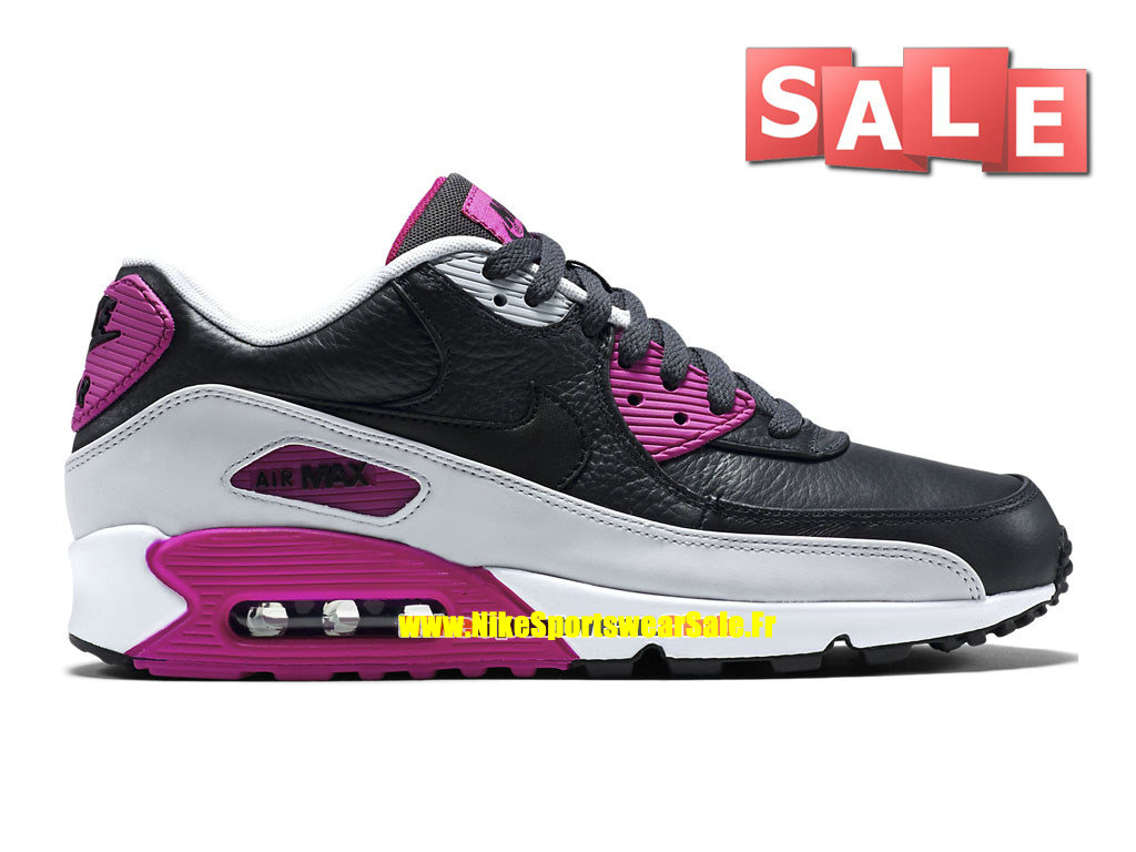 Nike Air Max 90 Leather (LTR) - Chaussure de Nike Sports Pas Cher Pour Homme Anthracite/Noir/Platine Purple/Fuchsia flash 652980-005