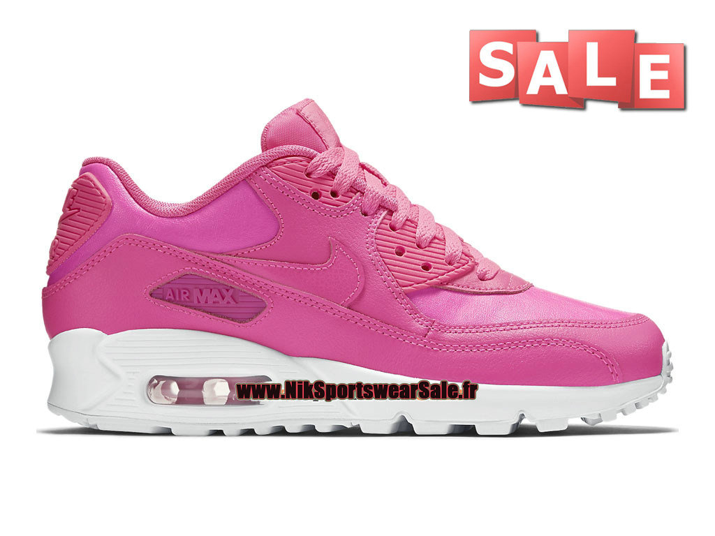 Nike Air Max 90 Leather/LTR GS - Chaussure de Nike Sports Pas Cher Pour Femme/Fille Rose framboise/Blanc 724852-600