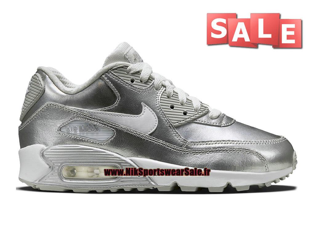 la moitié af803 f69e9 Nike Air Max 90 Premium Leather GS - Chaussure Nike Sportswear Pas Cher  Pour Femme/Enfant Blanc/Argent métallique 724871-100-Officiel de Chaussure  ...