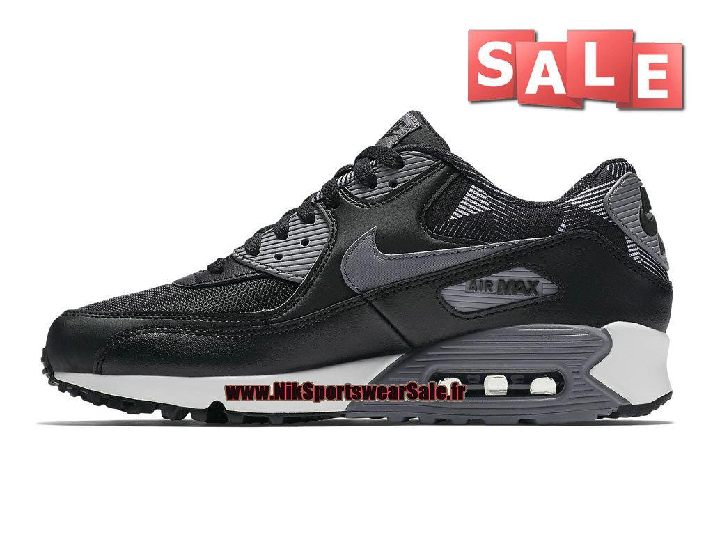 new arrival 286b9 ba5be ... Nike Air Max 90 Print - Chaussures Nike Sportswear Pas Cher Pour Homme  Noir Bleu ...