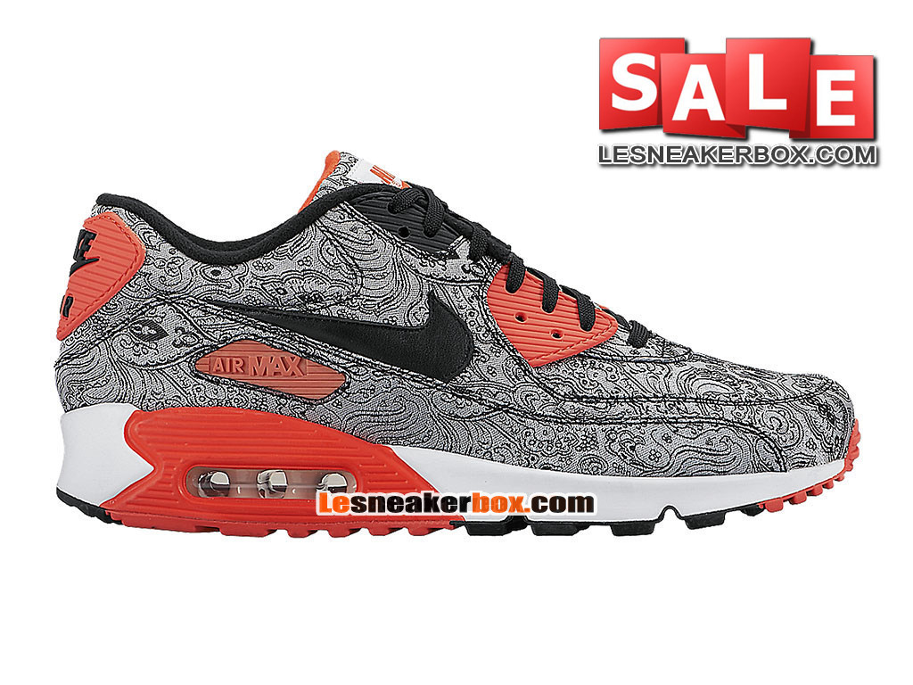 Nike Air Max 90 Ultra BR Breathe - Chaussure Nike Sportswear Pas Cher Pour Homme Paisley Gris/Infrared-Noir 725235-001