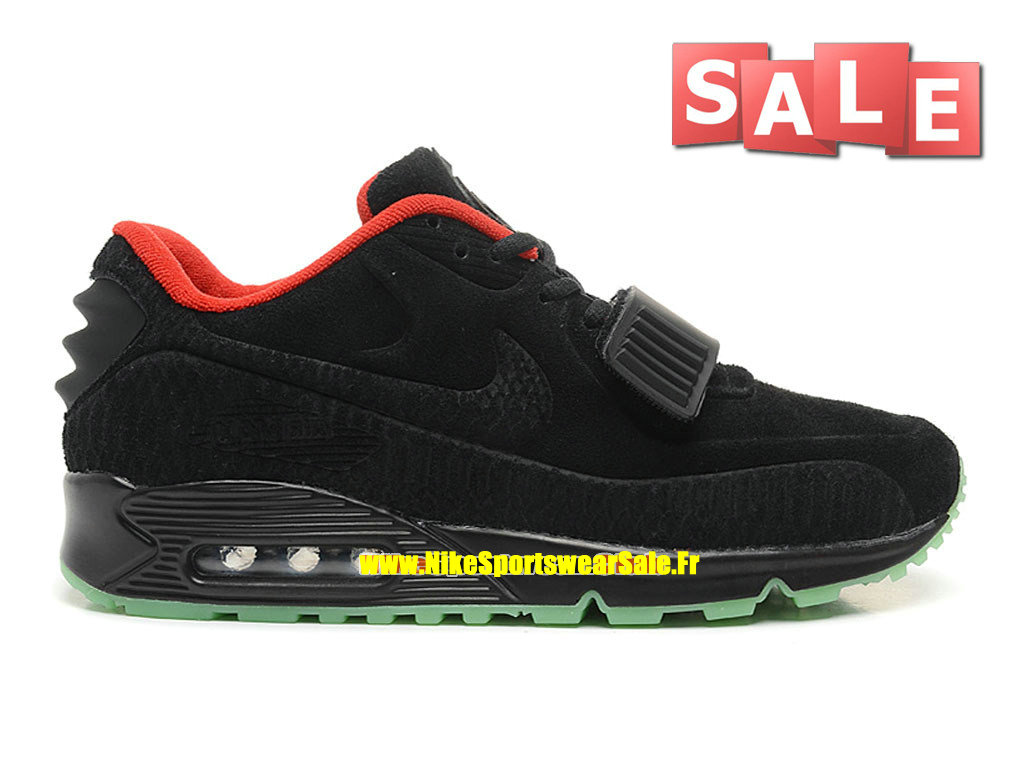 Nike Air Max 90 Yeezy X BLKVIS Gallery - Chaussure Nike Sportswear Pas Cher Pour Homme Noir/Rouge Université/Vert rayonnant 508214-007H