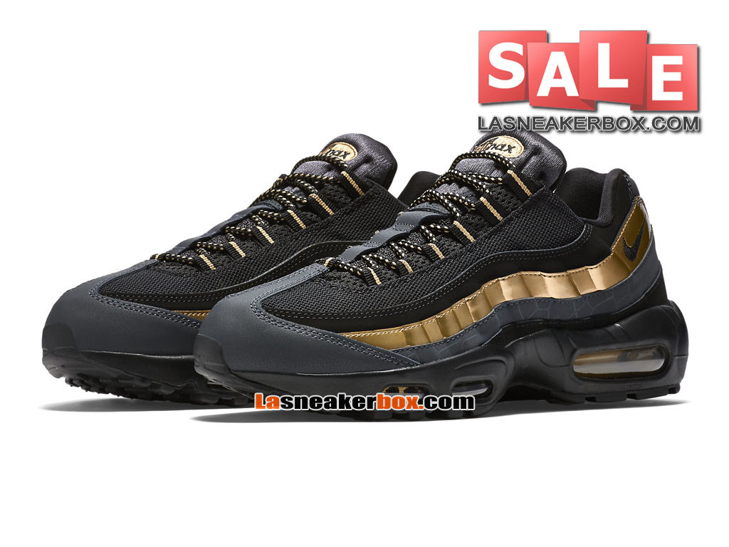 best loved 2b52e 2be0d ... Nike Air Max 95 Premium - Nike Sportswear Chaussure Pas Cher Pour Homme  Noir Or ...