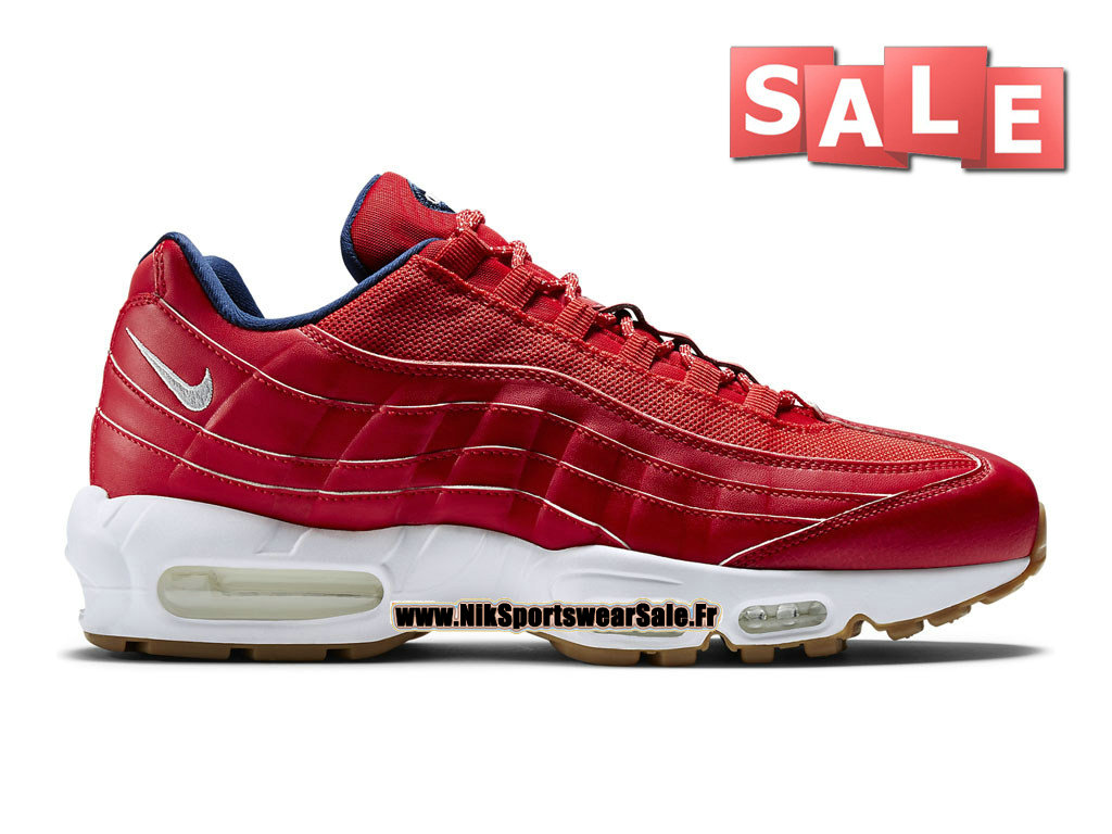 8f28a8acd45 Nike Air Max 95 Premium - Nike Sportswear Chaussure Pas Cher Pour Homme  Rouge Université  ...