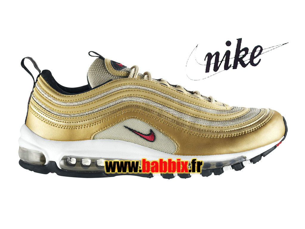 "Nike Air Max 97 OG ""Gold Olympic"" - Chaussures Nike Sportswear Pas Cher Pour Homme Or métallique/Rouge intense/Blanc/Noir 312641-700"
