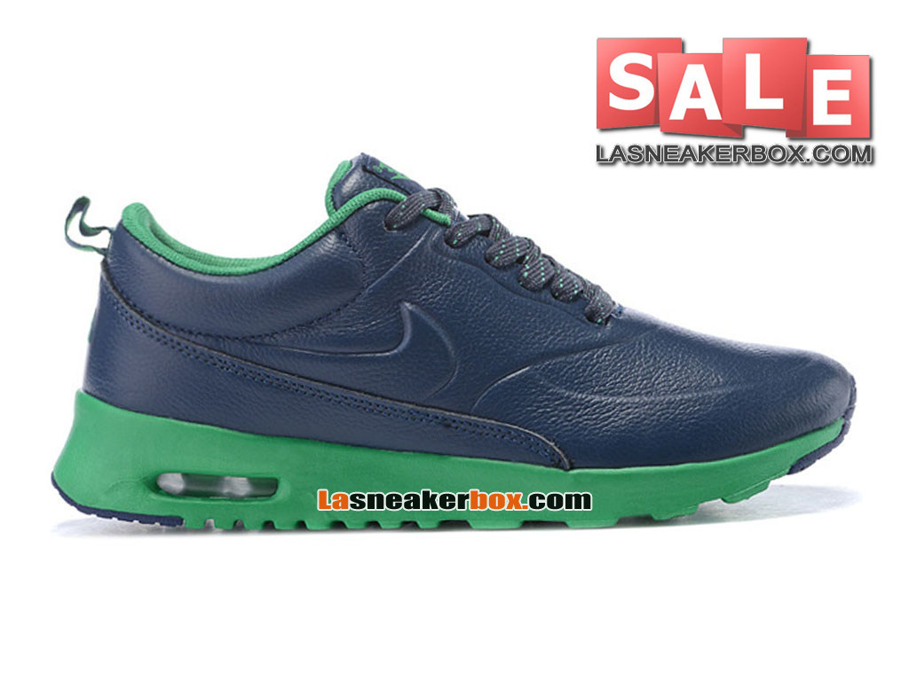 Nike Air Max Thea Leather - Chaussure Nike Sportswear Pas Cher Pour Homme Bleu nuit marine/Feuille printanière/Vert 616723-610iD