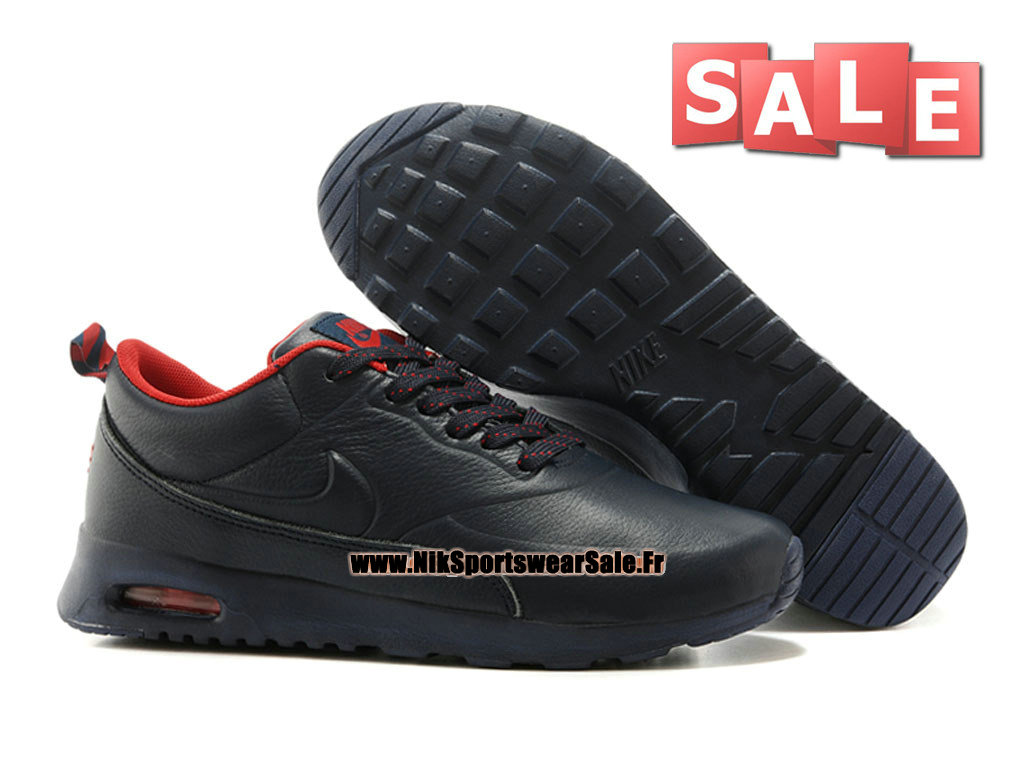 cheap for discount 39765 f9723 ... Nike Air Max Thea Leather - Chaussure Nike Sportswear Pas Cher Pour  Homme Noir Rouge ...