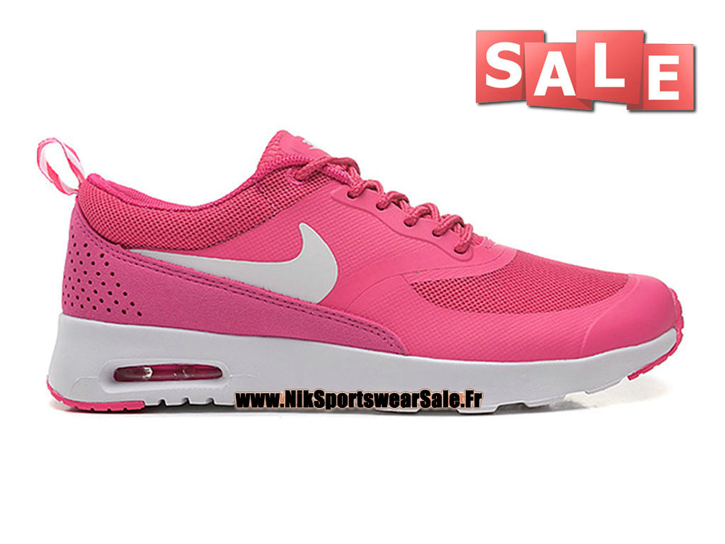 Nike Air Max Thea (Nike iD) GS - Chaussures Officiel Nike Pas Cher Pour Femme/Fille Rose éclatant/Blanc 599409-610iD