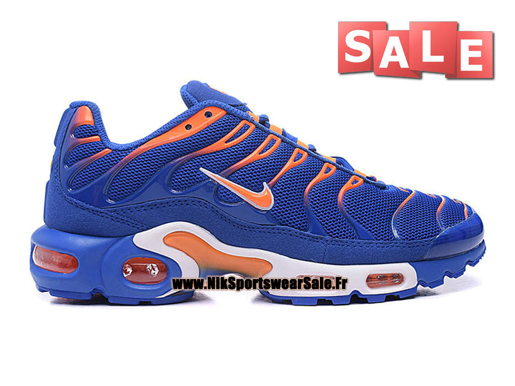 Nike Air Max Tn/Tuned Requin 2016 - Chaussures Nike Running Pas Cher Pour Homme Bleu royal/Orange total/Blanc 604133-801