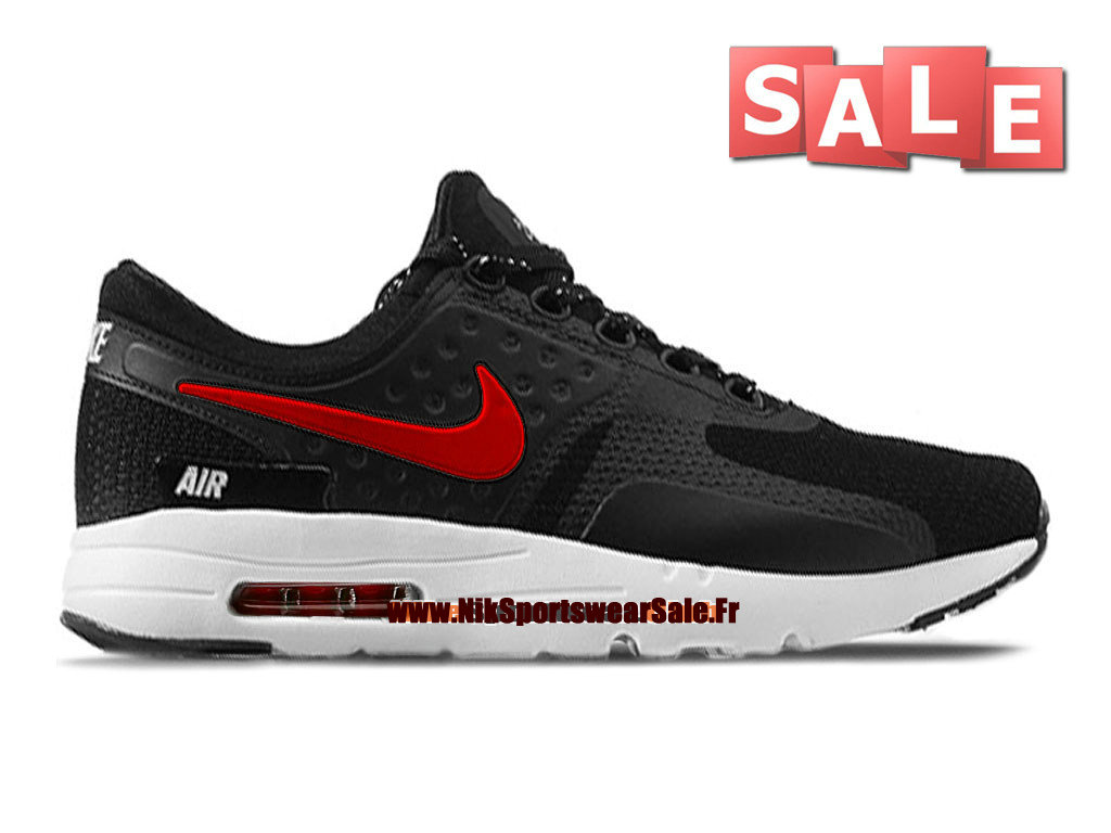Nike Air Max Zero - Chaussure Mixte Nike Sportswear Pas Cher (Taille Homme) Noir/Rouge-Blanc 789695-801iD