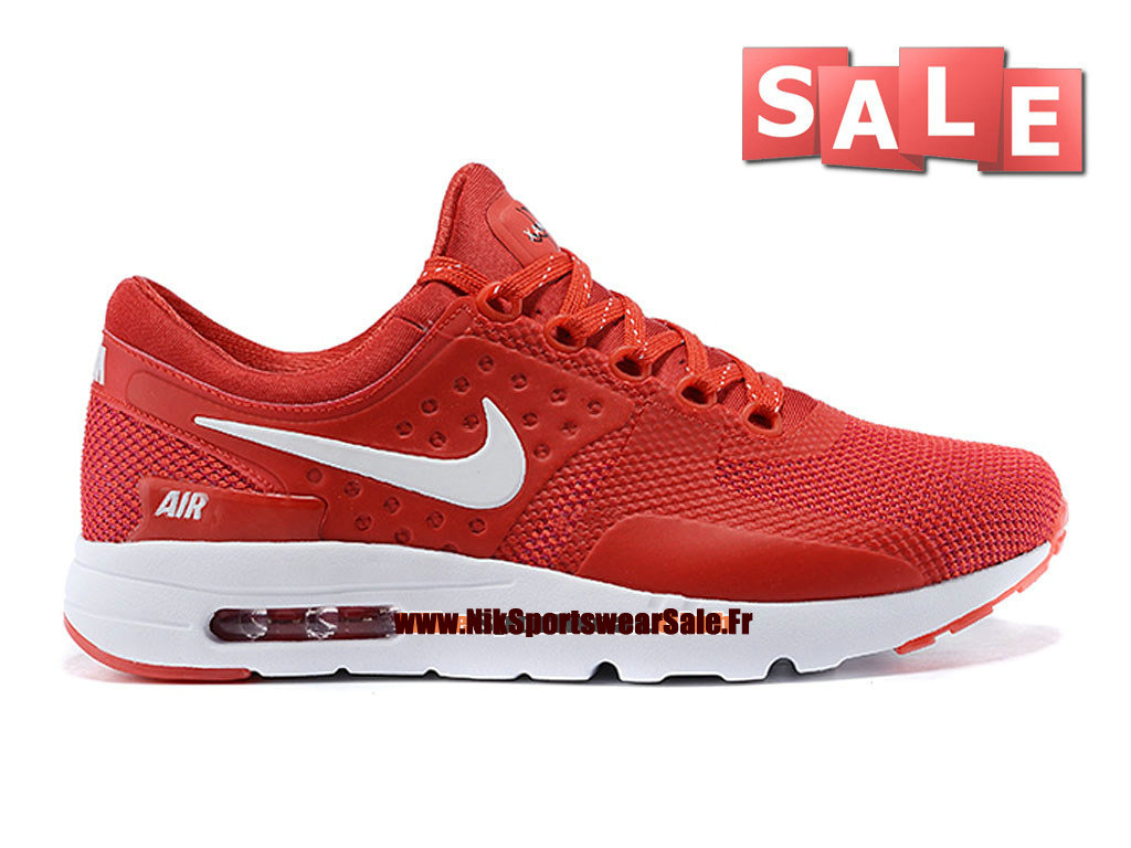 Nike Air Max Zero - Chaussure Mixte Nike Sportswear Pas Cher (Taille Homme) Rouge/Blanc 789695-008iD