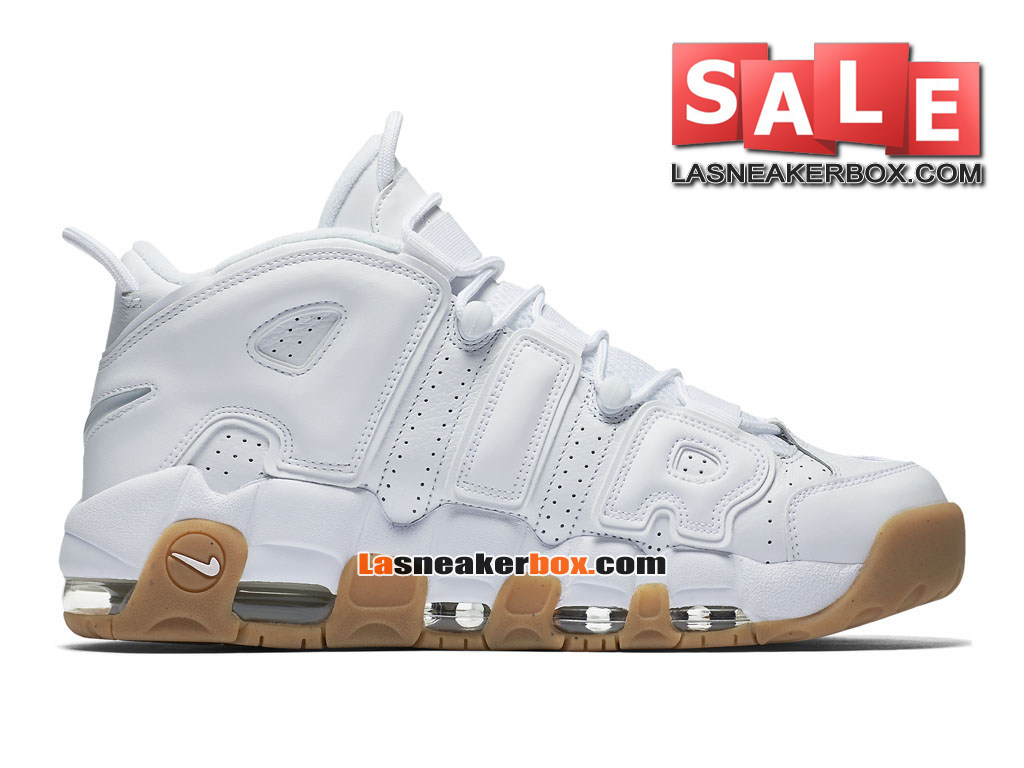 Nike Air More Uptempo (2016) - Chaussures Nike LifeStyle Pas Cher Pour Homme Blanc/Bambou/Gomme marron clair/Blanc 414962-103