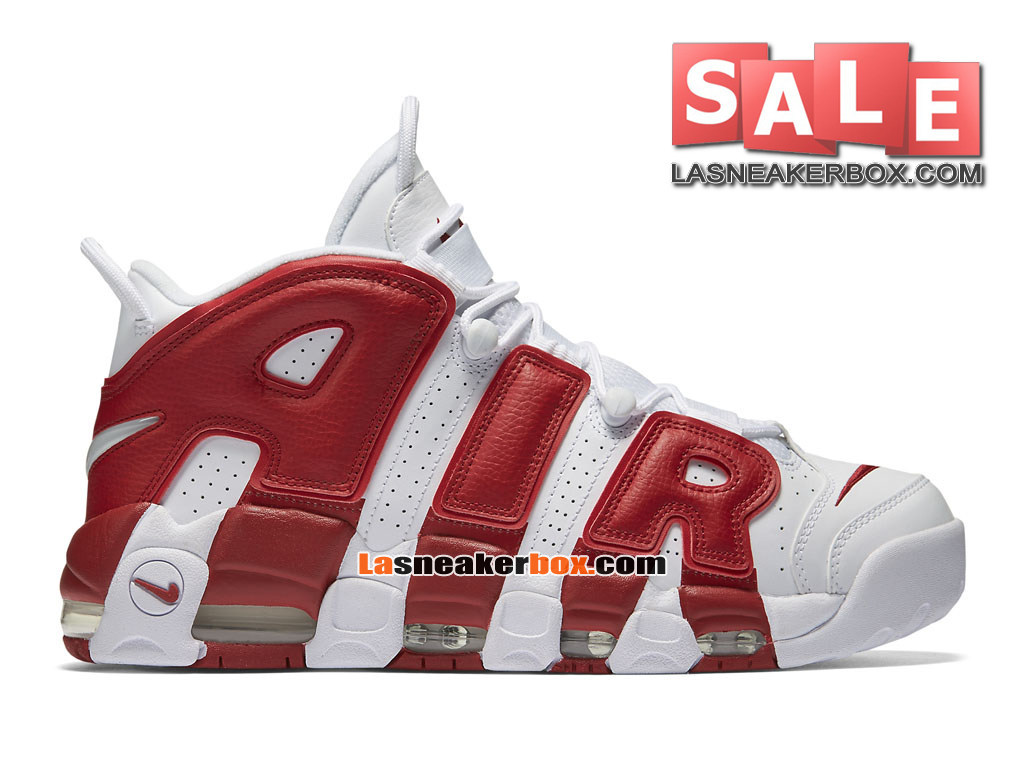 Nike Air More Uptempo (2016) - Chaussures Nike LifeStyle Pas Cher Pour Homme Blanc/Rouge sportif 414962-100