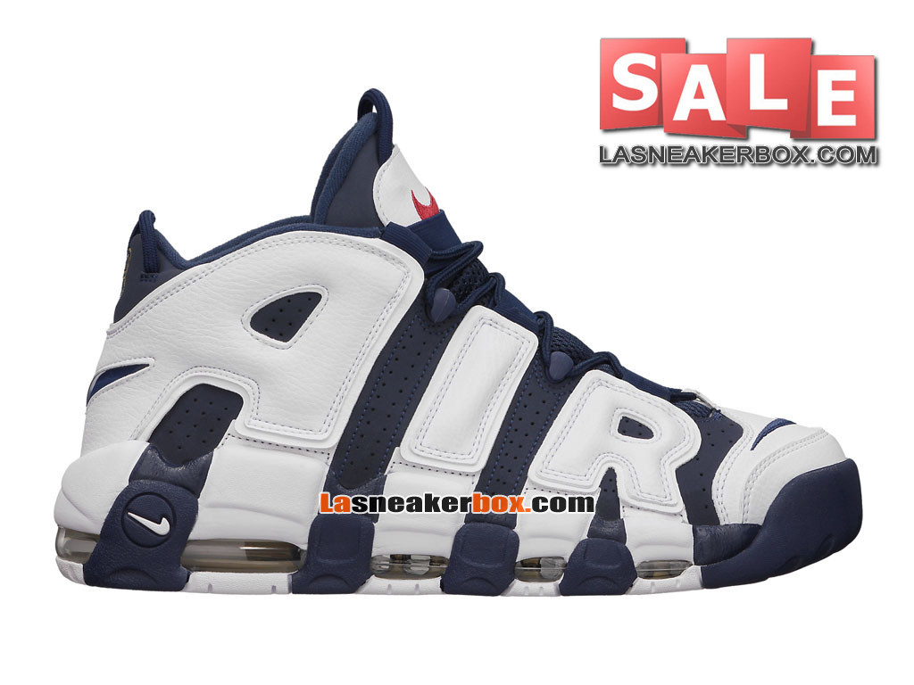 Nike Air More Uptempo (2016) - Chaussures Nike LifeStyle Pas Cher Pour Homme Bleu nuit marine/Blanc/Rouge sportif 414962-401