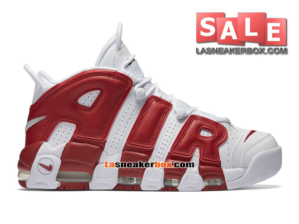 Nike Air More Uptempo (2016) GS - Chaussures Nike LifeStyle Pas Cher Pour Femme/Enfant Blanc/Rouge sportif 415082-100