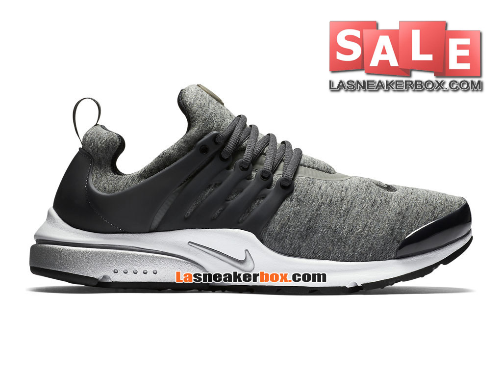 "Nike Air Presto TP ""Tech Fleece"" QS - Chaussures Nike Sportswear Pas Cher Pour Homme Tumbled Grey/Black/Anthracite/White 812307-002"