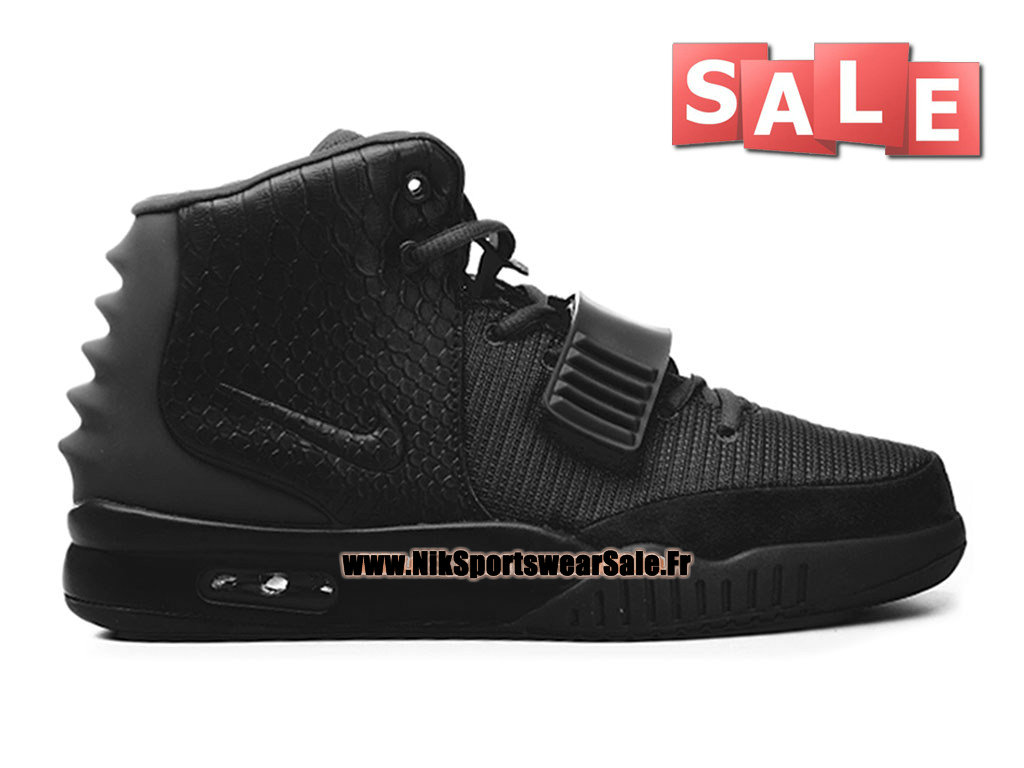 "Nike Air Yeezy 2/II ""Blackout"" - Chaussures Kanye West Customs Pas Cher Pour Homme Noir 508214-001"