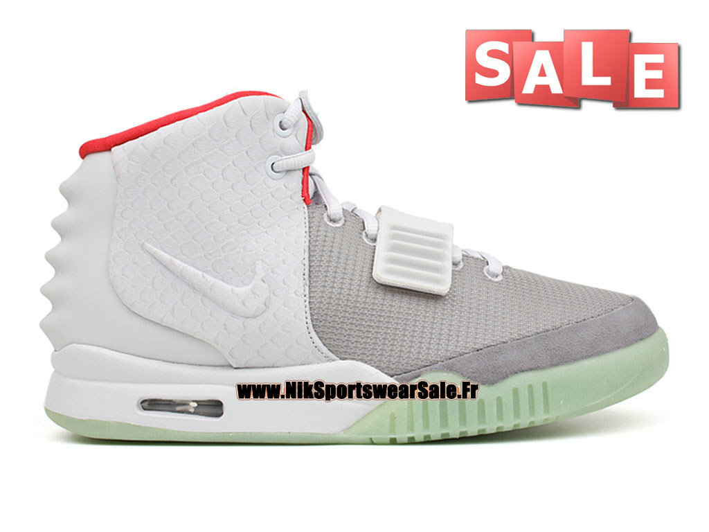 Nike Air Yeezy 2/II - Chaussures Kanye West Customs Pas Cher Pour Homme Gris loup/Platine pur/Cramoisi brillant 508214-010