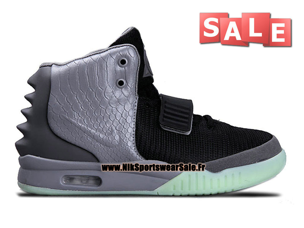 Nike Air Yeezy 2/II - Chaussures Kanye West Customs Pas Cher Pour Homme Noir/Gris loup 508214-110