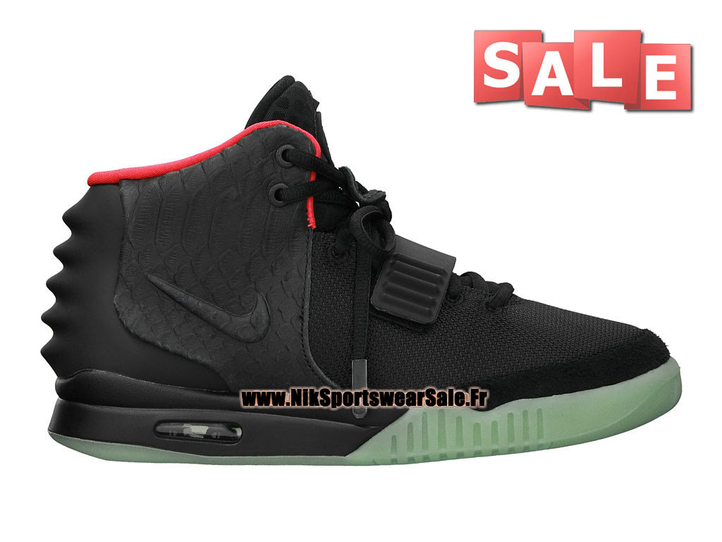 Nike Air Yeezy 2/II - Chaussures Kanye West Customs Pas Cher Pour Homme Noir/Noir/Rouge Solaire 508214-006
