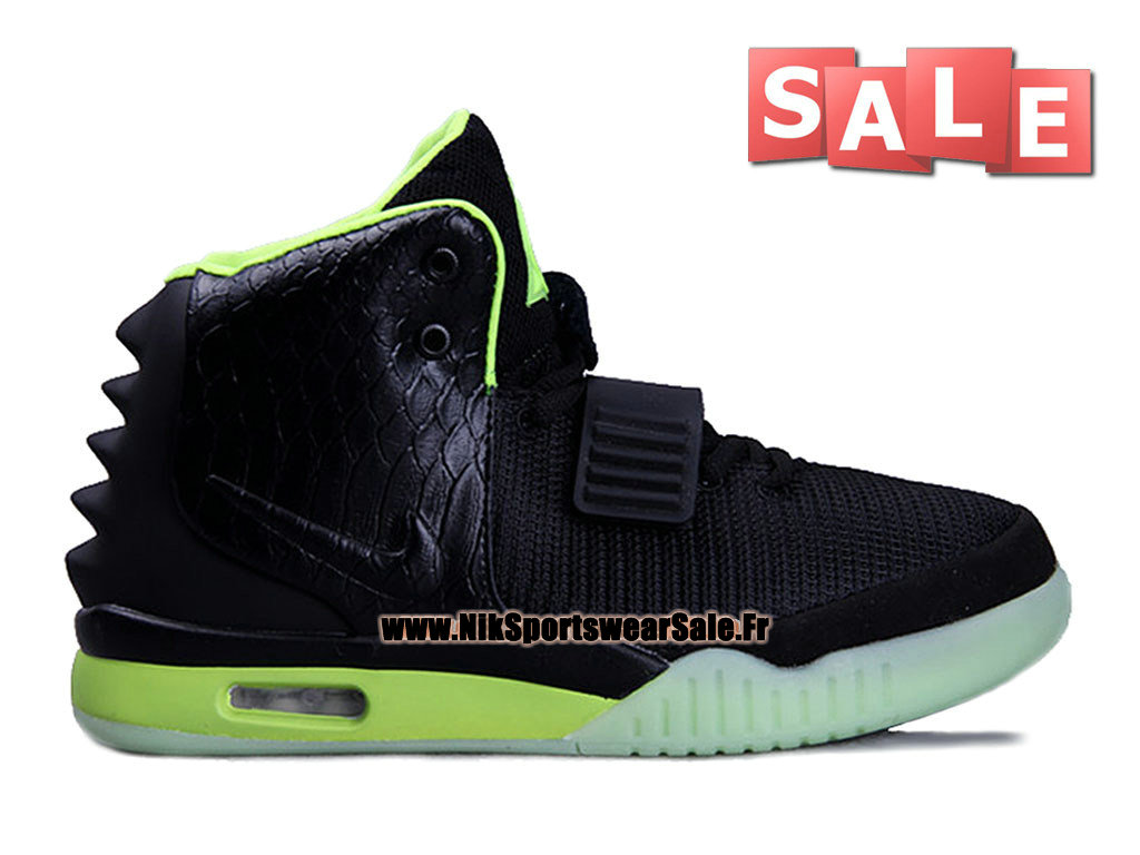 Nike Air Yeezy 2/II - Chaussures Kanye West Customs Pas Cher Pour Homme Noir/Volt 508214-108
