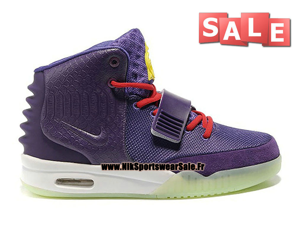 "Nike Air Yeezy 2/II ""Kobe"" Customs by Mache - Chaussures Kanye West Customs Pas Cher Pour Homme Violet Crépuscule/Rouge sportif 508214-109"