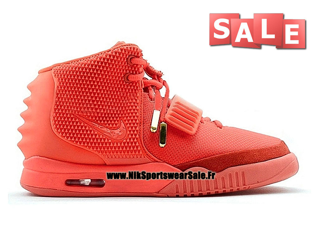 "Nike Air Yeezy 2/II ""Red October"" - Chaussures Kanye West Customs Pas Cher Pour Homme Rouge/Cramoisi brillant 508214-660"
