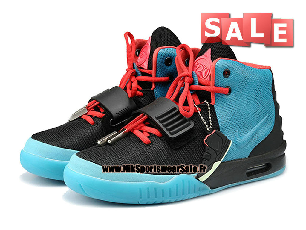 "Nike Air Yeezy 2/II ""South Beach"" 2013 - Chaussures Kanye West Customs Pas Cher Pour Homme Noir/Bleu céleste/Rouge intense 508214-107"