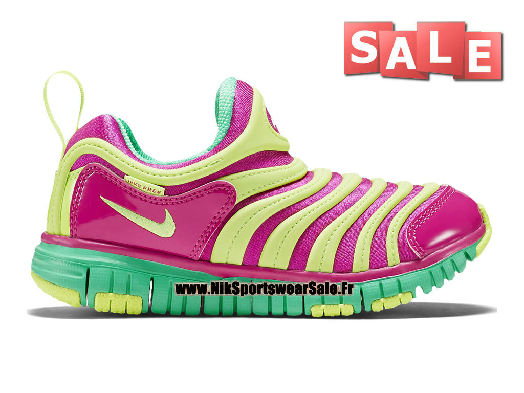 Nike Dynamo Free PS - Chaussures Nike Pas Cher Pour Petit Fille Rose framboise/Sonic Jaune/Vert pin 343738-609